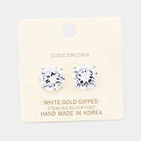 White Gold Dipped 12mm Cubic Zirconia Round Stud Earrings
