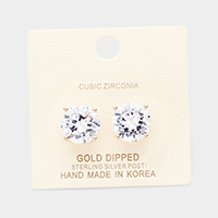 Gold Dipped 12mm Cubic Zirconia Round Stud Earrings