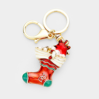 Pearl Crystal Christmas Sock Key Chain