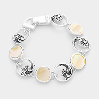 Round Mother of Pearl Metal Wave Link Magnetic Bracelet