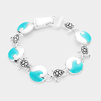 Sea Glass Metal Turtle Link Magnetic Bracelet