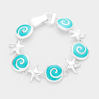 Sea Glass Swirl Wave Metal Starfish Link Magnetic Bracelet