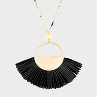 Leather Fan Tassel Pendant Long Necklace
