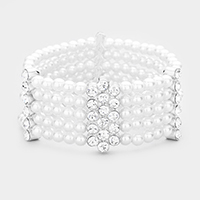 Pearl Multi Strand Crystal Detail Stretch Bracelet