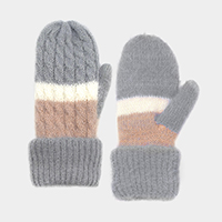 Striped Thermal Mitten Gloves