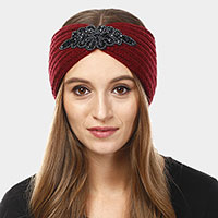 Bead Flower Knit Earmuff Headband