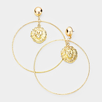 Oversized Metal Hoop Lion Accented Dangle Earrings