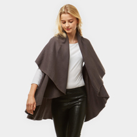 Solid Shawl Cape Poncho