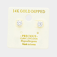 14K Gold Dipped 5mm Cubic Zirconia Round Stud Earrings