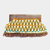 Pom Pom Detail Tassel Fringe Wood Handle Clutch Bag