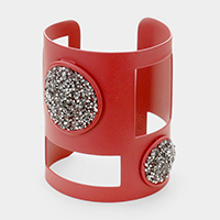 Wide Stone Cluster Detail Cut Out Cuff Bracelet