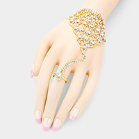 Bubble Crystal Detail Net Hand Chain Evening Bracelet