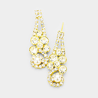 Pearl Accented Bubble Crystal Cluster Evening Earrings