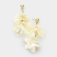 Oversized Shell Petal Cluster Vine Dangle Earrings