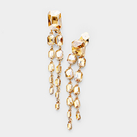 Layered Crystal Rectangle Link Clip on Evening Earrings