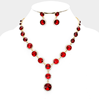 Round Crystal Detail Rhinestone Trim Bib Evening Necklace