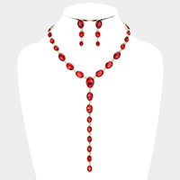 Marquise Crystal Oval Link Bib Evening Necklace