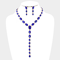 Marquis Crystal Oval Link Bib Evening Necklace