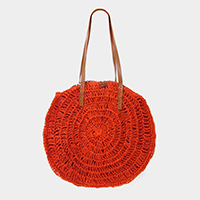 Button Detail Soft Straw Circle Tote Bag