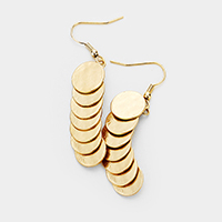 Layered Metal Disc Link Dangle Earrings