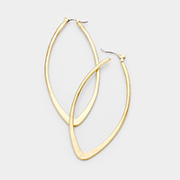 Metal Oval Hoop Pin Catch Earrings