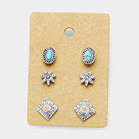 3Pairs Mixed Turquoise Crystal Flower Stud Earrings
