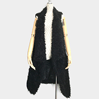 Fluffy Faux Fur Open Vest