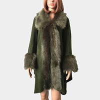 Faux Fur Trim Detail Long Poncho