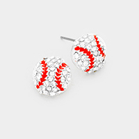 Crystal Pave Baseball Stud Earrings