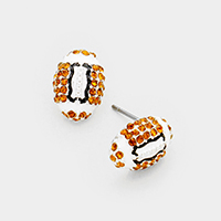 Crystal Pave Football Stud Earrings