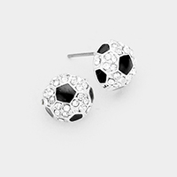 Crystal Pave Soccer Stud Earrings
