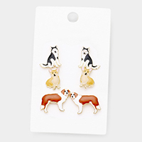 3Pairs Enamel Dog Puppy Stud Earrings