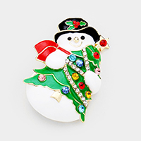 Crystal Snowman Christmas Tree Pin Brooch / Pendant