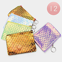 12PCS -Wave Pattern Mini Pouch Bags with Key Chain