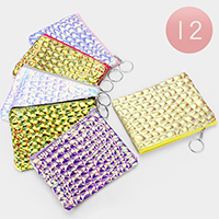 12PCS -Crocodile Skin Pattern Mini Pouch Bags with Key Chain