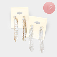 12PCS - Crystal Rhinestone Pave Fringe Earrings