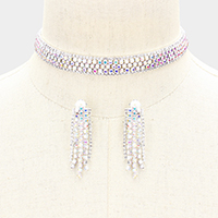 Bubble Crystal Choker Necklace & Clip Earring Set