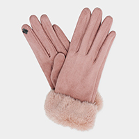 Faux Suede Fur Cuff Touch Gloves