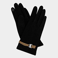 Leather Bucket Metal Point Touch Gloves