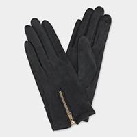 Faux Suede Zipper Accent Touch Gloves