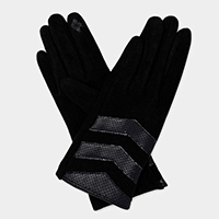 Faux Suede Leather Straps Touch Gloves
