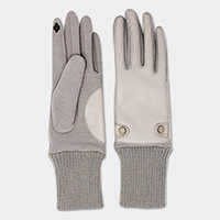 Leatherette Buttons Touch Gloves