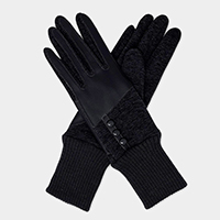 Half Leatherette Buttons Touch Gloves