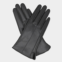 Leatherette Convex Strap Detail Gloves
