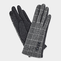 England Plaid Check Button Accent Touch Gloves