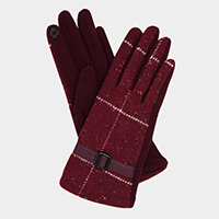 Simple Plaid Check Leather Buckle Accent Touch Gloves