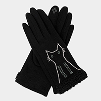 Kitty Cat Embroidery Poodle Fur Cuff Accent Touch Gloves