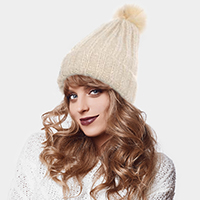 Soft Cable Knit Faux Pom Pom Beanie Hat