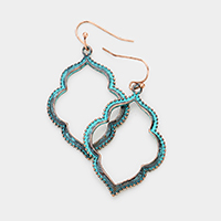 Edge Detail Metal Quatrefoil Petal Dangle Earrings