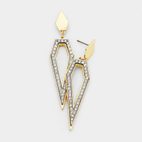 Crystal Rhinestone Pave Pentagon Dangle Earrings